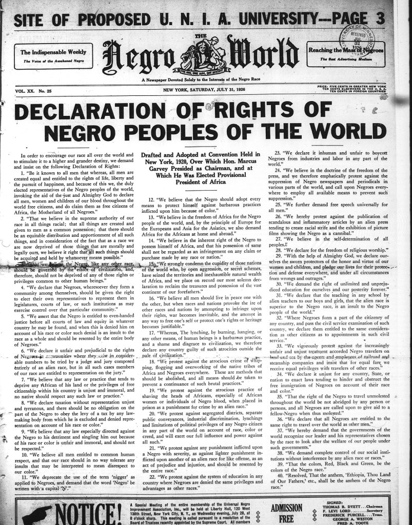 Declaration of Rights of Negro Peoples of the World