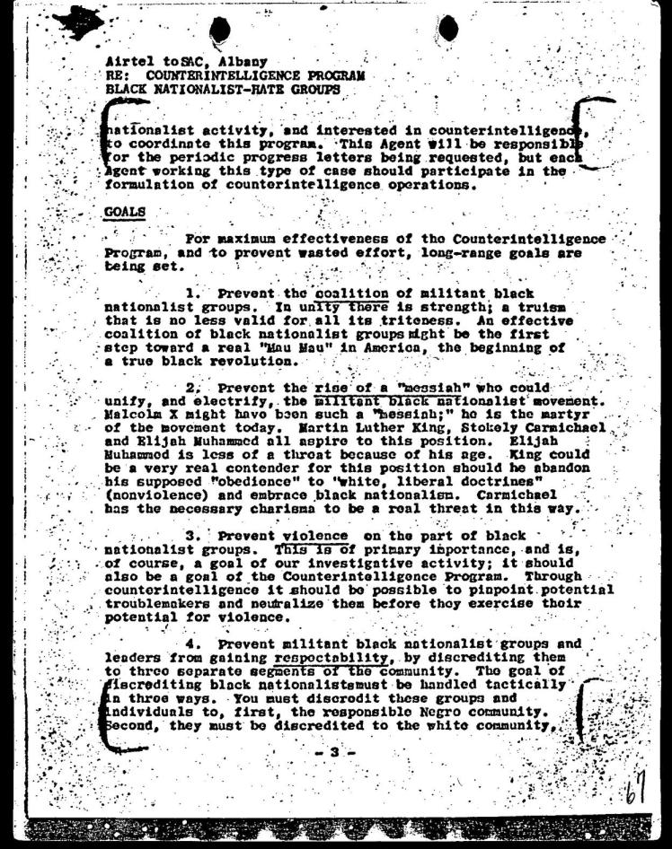 Page three of the FBI COINTELPRO Memo dated March 4, 1968