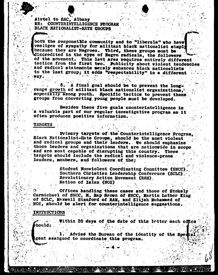 Page four of the FBI COINTELPRO Memo dated March 4, 1968