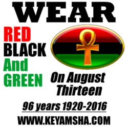 wear red black and green on august 13 QUARTER SIZE