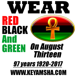 wear red black and green on august 13